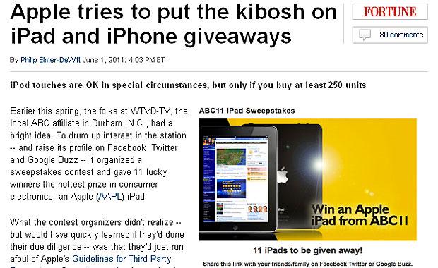 Promoções, como da rede de TV ABC, estão proibidas, mostra Fortune (Foto: Reprodução)