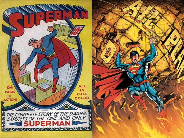 Capa da primeira revista do Superman, de junho de 1939, ao lado de ilustração que estampará a primeira página da nova HQ do herói, que será lançada em setembro nos EUA  (Foto: Reprodução e AP)