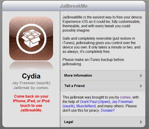 Quando visitado por um dispositivo com iOS, site oferece desbloqueio de um clique (Foto: Reprodução)
