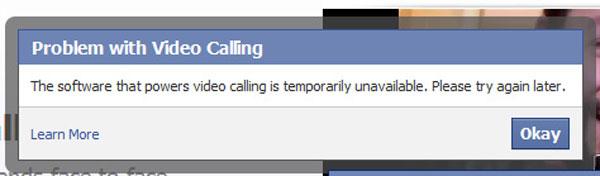 Mensagem avisa de problemas com o serviço de conversas por meio de vídeo do Facebook (Foto: Reprodução)