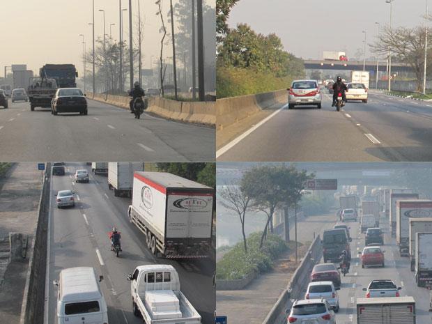 Motos usam a pista expressa da Marginal Tietê, onde sua circulação é proibida (Foto: Juliana Cardilli/G1)