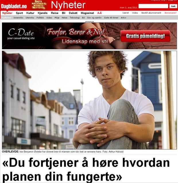Jornal norueguês entrevistou o autor da carta após sua publicação e repercussão na internet (Foto: Reprodução/Dagbladet)