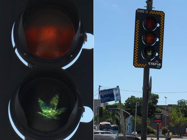 Desenho foi colocado em semáforo em Fortaleza; prefeitura diz que vai substituir peça (Foto: Diana Vasconcelos/G1)