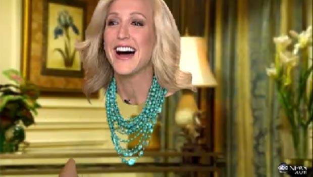 Cabeça da apresentadora Lara Spencer parecia 'flutuar'. (Foto: Reprodução/ABC News)