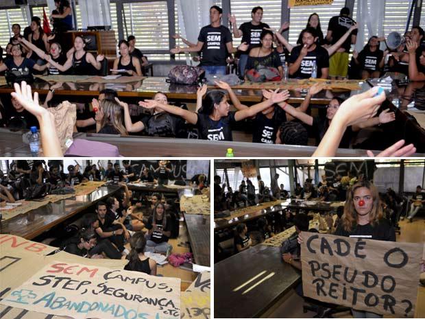 Estudantes da UnB ocupam gabinete do Reitor no campus de Ceilândia (Foto: Renato Araújo ABr)