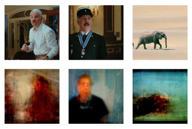 Imagens de filmes (acima) e as recriadas por computador (Foto: AP Photo/University of California, Berkeley, Shinji Nishimoto)