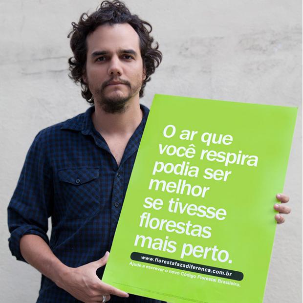 O ator Wagner Moura é um dos que aderiu à campanha contra mudanças no Código Florestal (Foto: Divulgação/Floresta faz a diferença)