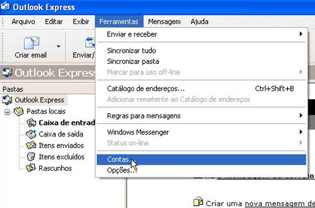 As configurações do Outlook Express e do Windows Mail são semelhantes. No Outlook Express, comece por este menu (Foto: Reprodução)