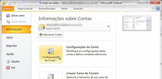 No Outlook 2010, acesse o menu Arquivo e então Configurações da conta (Foto: Reprodução)