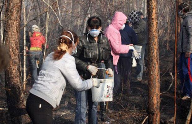 Voluntários ajudam a apagar fogo em área de floresta na cidade russa de Bratsk (Foto: AFP)