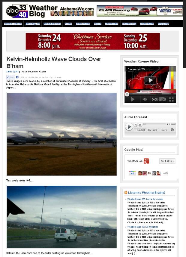 """Site da ABC 3340 mostra imagens das """"nuvens em forma de tsunami"""". (Foto: Reprodução)"""