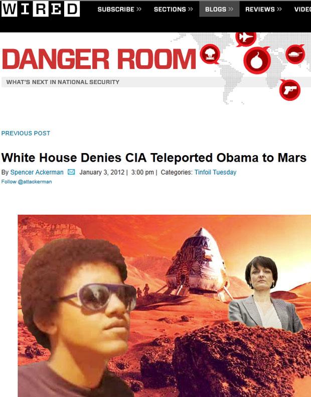 Revista ironizou teoria conspiratória representando Barack Obama e a diretora de um órgão de Defesa americana em Marte (Foto: Reprodução)