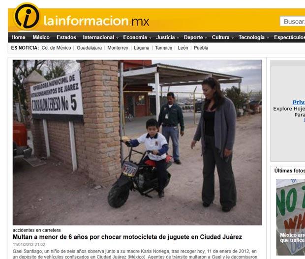 Menino de seis anos foi multado e teve sua motocicleta de brinquedo confiscada. (Foto: Reprodução)