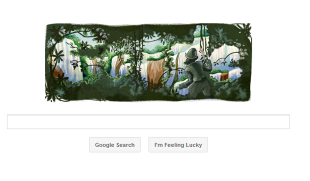 O Google mudou seu logotipo no site de buscas nesta terça-feira (31) em homenagem aos 470 anos do descobrimento das Cataratas do Iguaçu pelo explorador espanhol Álvar Núñez Cabeza de Vaca. Ele encontrou as cataratas em 1542 (Foto: Reprodução)