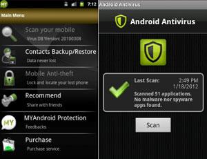 Entre os antivírus que não detectaram nenhuma praga estão o MyAndroid Protection e o Android Antivirus (Foto: Reprodução)