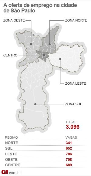 Mapa do emprego da cidade de São Paulo - 21/03/12 (Foto: Editoria de arte/G1)