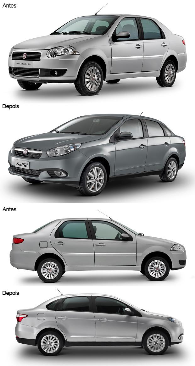 Antes e depois Fiat Siena (Foto: Editoria de Arte/G1)