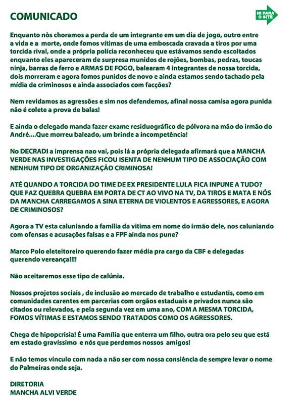 Nota da Mancha Alviverde (Foto: Reprodução / Site da Mancha Alviverde)