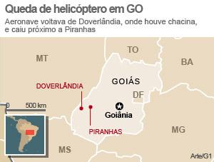 Mapa Doverlândia Piranhas, em Goiás (Foto: Editoria de Arte/G1)