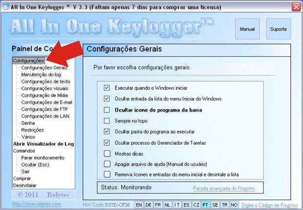 Configurações gerais do All In One Keylogger (Foto: Reprodução/Teresa Furtado)
