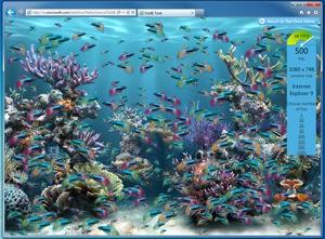 Demonstração de 500 peixes na tela (Foto: Reprodução)