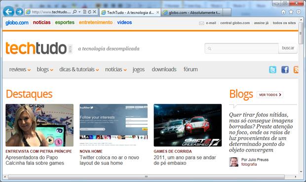 Internet Explorer 9 (Foto: Reprodução/Daniele Monteiro)