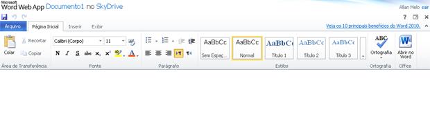 Barra de ferramentas do Word Web App