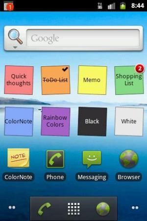 Notas e listas como widgets na tela inicial do celular - ColorNotes (Foto: Divulgação)