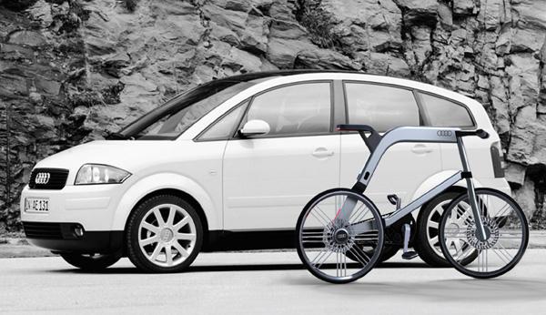 Carro e bicicleta elétrica da Audi (Foto: Divulgação)