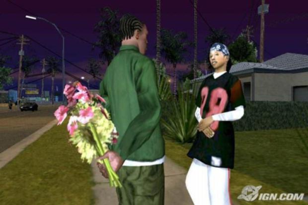 """O Mod """"Hot Coffee"""" permitia que CJ fosse além de dar flores para a namorada  (Foto: IGN)"""