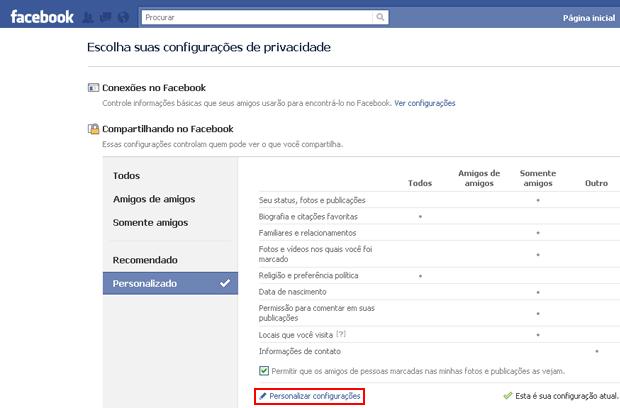 Configurações de privacidade do Facebook (Foto: Reprodução/TechTudo)