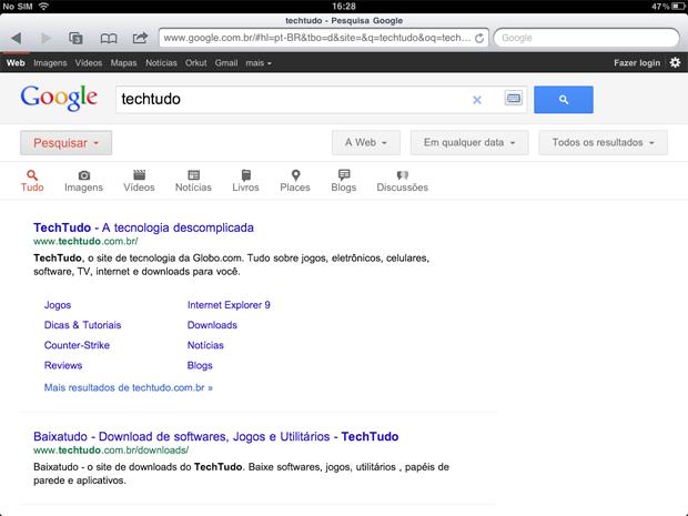 Nova interface para tablets da busca do Google (Foto: Divulgação)