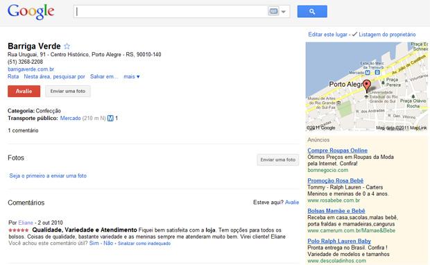 Google Places (Foto: Reprodução/Teresa Furtado)