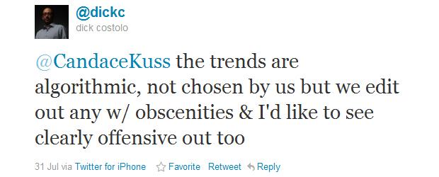 O tweet de Dick Costolo (Foto: Reprodução)