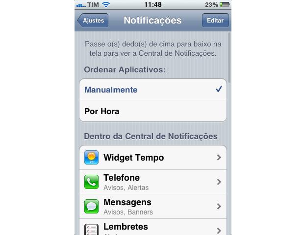 Notificações do iPhone (Foto: Reprodução/TechTudo)