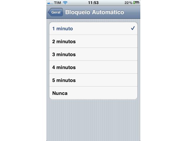 Bloqueio automático de tela no iPhone (Foto: Reprodução)