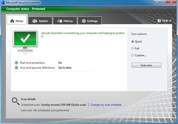 A nova interface do Microsoft Security Essentials