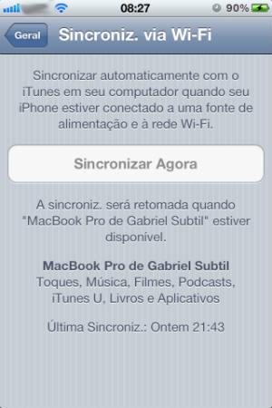 Sincronização do iTunes pelo Wi-Fi (Foto: Reprodução)