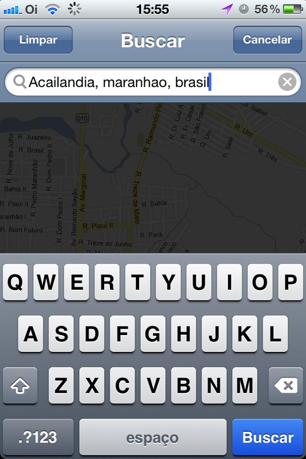 Pesquisando no Mapas do iPhone (Foto: (Foto: Reprodução/Edivaldo Brito))