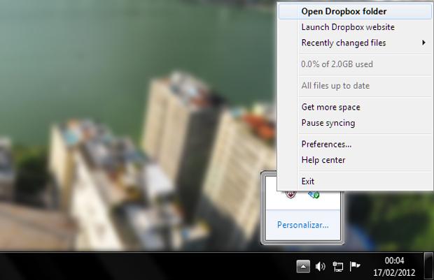 Abrindo a pasta do Dropbox no seu computador