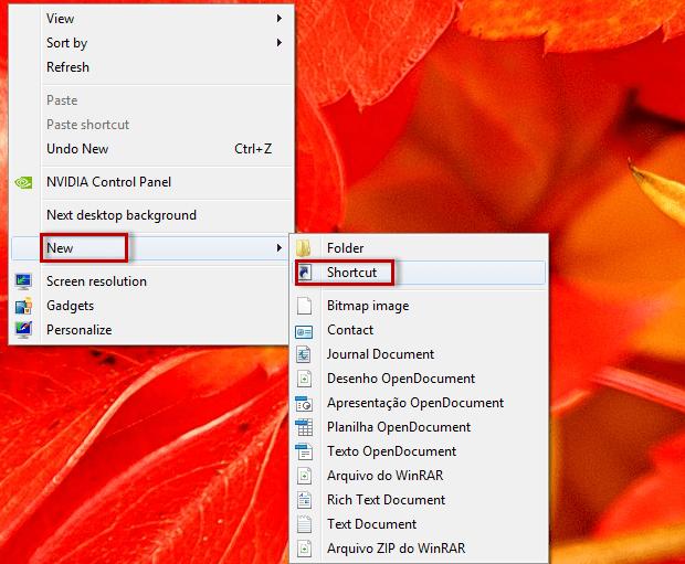 """Clique com o botão direito do mouse sobre uma área vazia, quando as opções surgirem, selecione """"New"""" e, depois, """"Shortcut"""" (Foto: Reprodução/Júlio Monteiro)"""