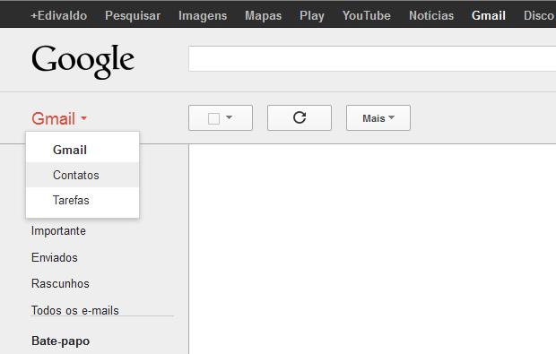 Acessando os contatos no Gmail