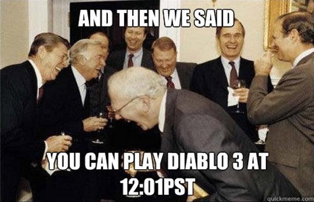 """""""E aí nós dissemos: """"Vocês podem jogar Diablo 3 à partir da meia-noite!"""""""" (Foto: IGN)"""