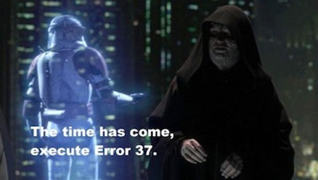 """""""A hora chegou, execute o Error 37"""", diz o Imperador de Guerra nas Estrelas (Foto: IGN)"""