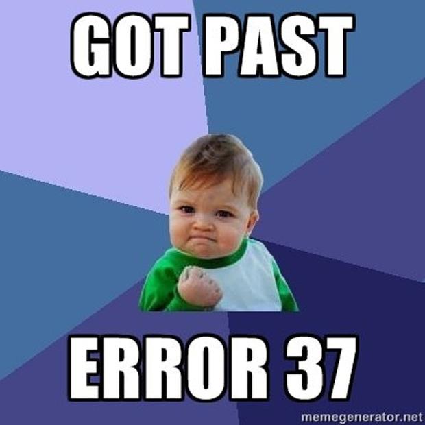 Só mesmo o Success Kid pra conseguir passar pelo Error 37 (Foto: IGN)
