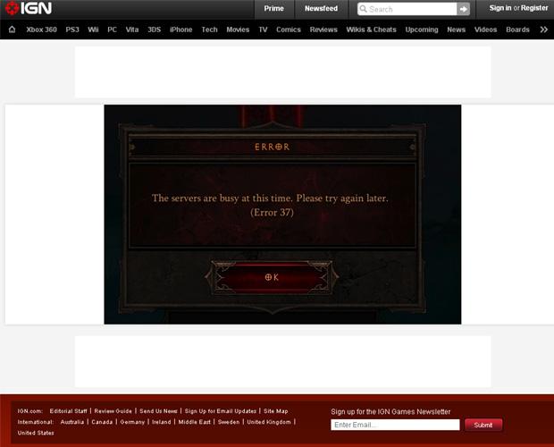 Site IGN coloca Error 37 como sua página de erro 404 (Foto: Divulgação)