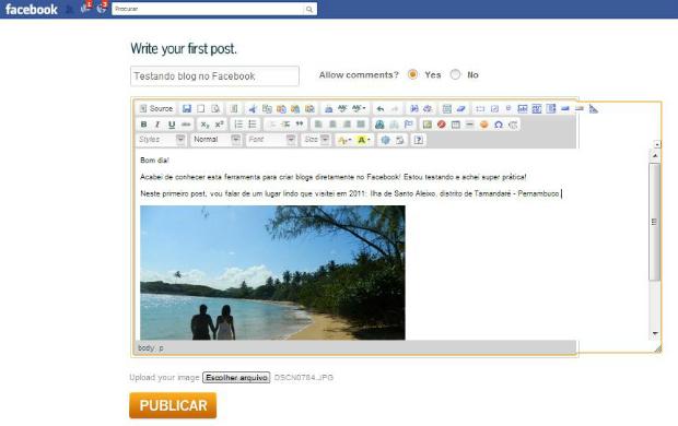 Interface do blog para Facebook criado com aplicativo WorkProList (Foto: Aline Jesus/Reprodução)