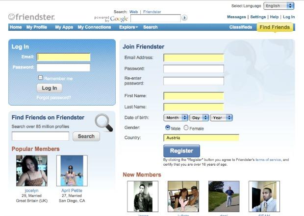 Rede social Friendster (Foto: Reprodução)