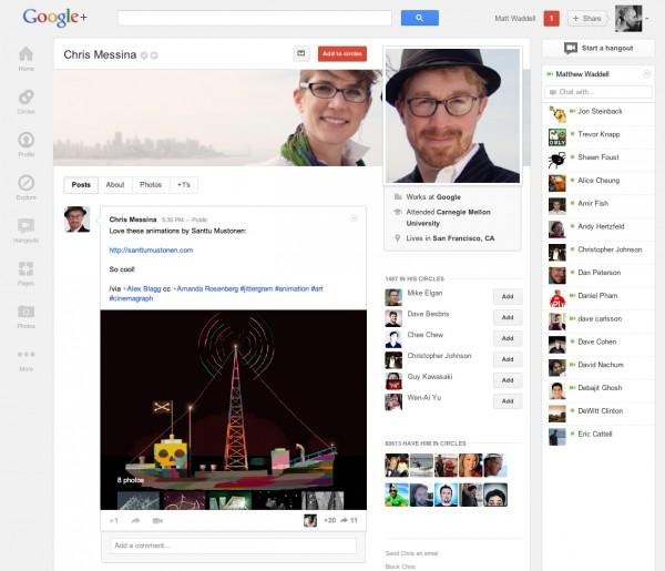 Conta de um usuário do Google + (Foto: Reprodução)