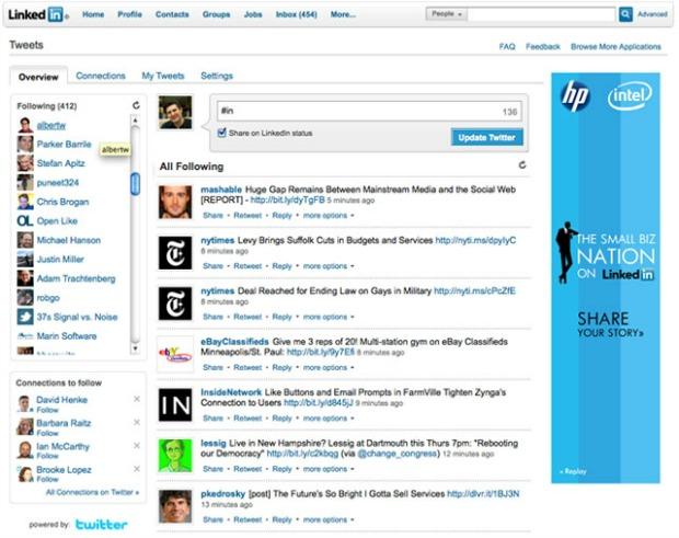 Layout do site LinkedIn (Foto: Reprodução)